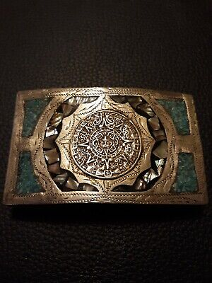 Vintage Mexican Silver Toned Turqouise And Abalone Inlay Belt Buckle