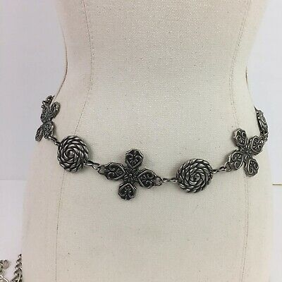 Vintage 1990's Silver Tone Chain Link Metal Belt Stamped Womens One Size
