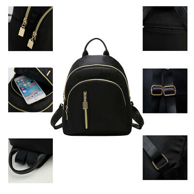 Women Small Backpack Travel Nylon Handbag Shoulder Bag Black Fashion