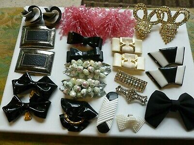 HUGE 86pc Vintage to Mod Lot of Scarf Sweater Shoe Dress Fur Clips Pins Sides