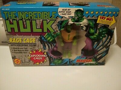 The Incredible Hulk RAGE CAGE electronic sound Toy Biz MISB 1991, new in box