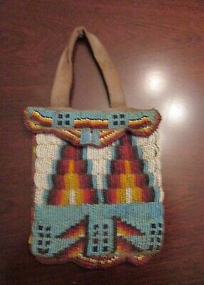 Antique Plains / Sioux  Line Stitch Beaded Hide Bag