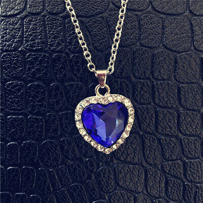 CZ Crystal Necklace Pendant Jewelry Titanic Heart Of The Ocean Sapphire Blue