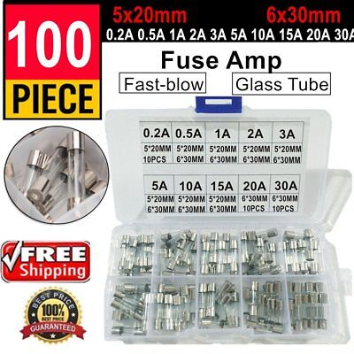 100Pcs/lot 5x20mm 6x30mm Fast-blow Glass Tube Fuse Amp Assorted Set With Box FK@