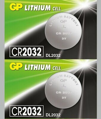 2 x Genuine Replacement GP Flat Lithium Cell 3V Coin Battery CR2032