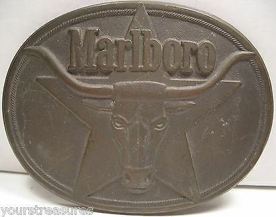 """Vintage/Collectible 1987 """"Marlboro"""" Solid Brass Belt Buckle From Philip Morris"""