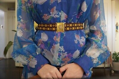 1970's brown and yellow belt gold elastic size small women's retro vintage