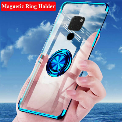 For Huawei Mate 20 Pro/Lite Magnetic Clear Plating Ring Stand Holder Case Cover