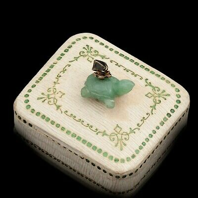 Antique Vintage Art Deco Sterling Silver Gold Chinese Jadeite Jade Charm Pendant