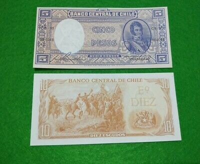 2 x Chile banknotes 5 & 10 Pesos very good condition