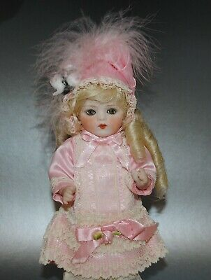"""Antique French Bru Jne Doll 8.5"""" Reproduction Beautiful Pink Outfit"""