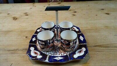 Vintage Arthur Wood Pottery Egg Cups and Stand Imari Colours
