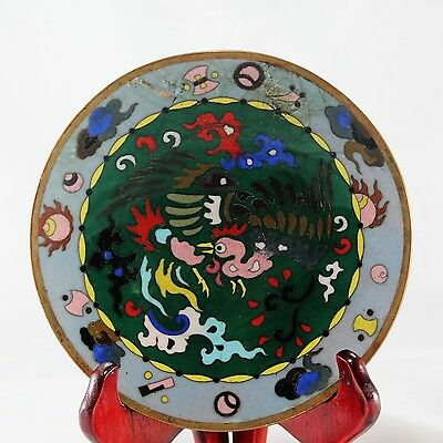Vtg Chinese Cloisonne Style Rooster Dish Plate Thick Enamel or Glass on Copper