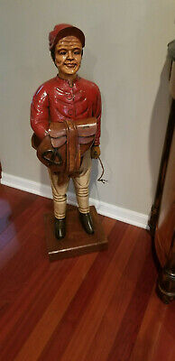 Vintage Hand Carved Solid Wood  Life Size Horse Jockey Statue - Very Rare!