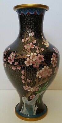 Beautiful Large Chinese Cloisonne Vintage Vase #1