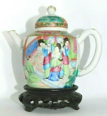 Fine, Antique, Chinese 19Th.c Famille Rose Canton Figures Teapot On Stand, Qing