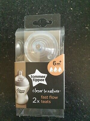 Tommee Tippee Closer to Nature Fast Flow Teats Nipples Bottle Baby Feeding 2Pcs