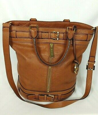 f5aa3b5c35cd MICHAEL KORS KINGSBURY Bucket Tote Bag Brown Luggage Leather Large ...