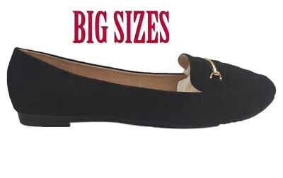 Womens Ladies Loafers Flat Casual Work Pumps Diamante Comfort Big Sizes Shoes