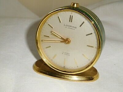 Looping seltene Uhr early Vintage Wecker Tischuhr  Messing 8 Day Movement