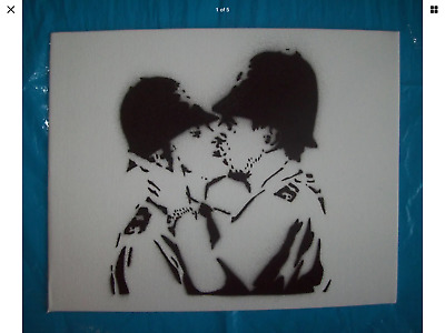 Dismaland Souvenir Original Graffiti Cops kissing - like  Hirst / Banksy