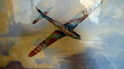 VINTAGE PAINTING of WORLD WAR TWO PLANES. By W.J Webb. c1939 Oil on Board