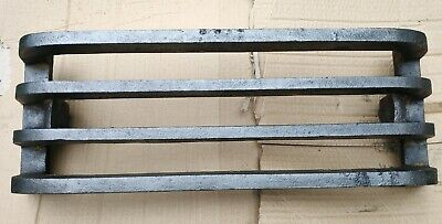"Antique Victorian / Edwardian Cast Iron Open Fireplace Front Bars Fret 18"" Wide"