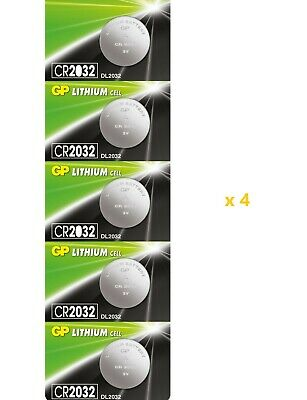 20 x Genuine Replacement GP Flat Lithium Cell 3V Coin Battery CR2032