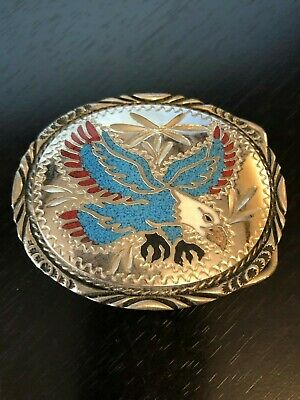 S.S.I. Handcrafted USA Turquoise Coral Eagle in Flight Belt Buckle