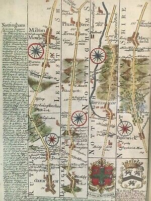 1784 Great Britain Travelers Map Engraving of Nottingham Area
