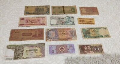 12 assorted banknotes from around the world