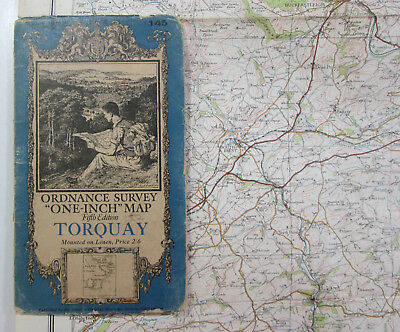 Old Vintage 1932 OS One-Inch Fifth Edition Map 145 Torquay Ordnance Survey
