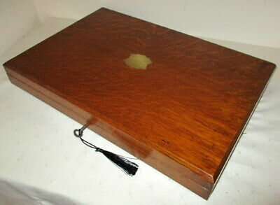 WONDERFUL VICTORIAN LARGE (18 inches wide) SOLID OAK COLLECTORS BOX with key