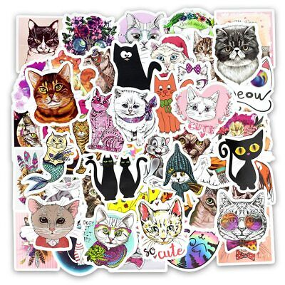 50pcs Kawaii Cat Animal Cartoon Lovely Stickers Gift for DIY Laptop Suitcase Fun