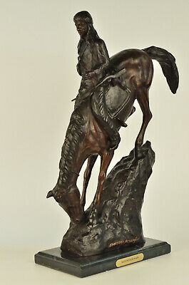 "Frederic Remington Signed 21"" Tall Bronze ""Mountain Man"" Sculpture Native Horse"
