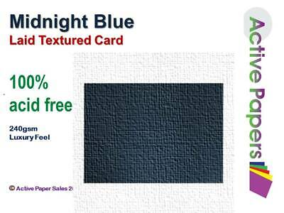 Midnight Blue Textured Card 240gsm -  Premium Grade Acid Free