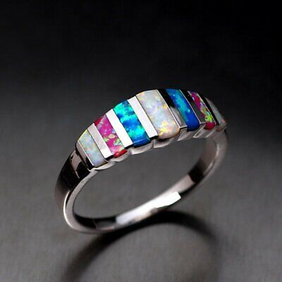 Multi-color Silver Filled Women Love Wedding Gorgeous Rings Party Color Gift