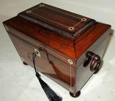 STUNNING LITTLE ANTIQUE INLAID ROSEWOOD TEA CADDY nice interior,with key