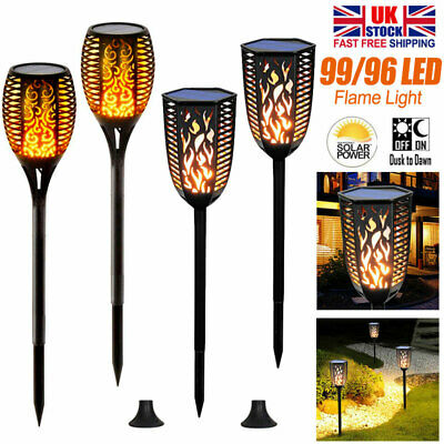 1/4pcs 99LED Flame Solar Torch Light Waterproof Flickering Dancing Garden Lamp