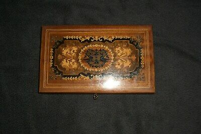 Beautiful Vintage Intarsian Italian Inlaid Wood Musical Jewelry Box.