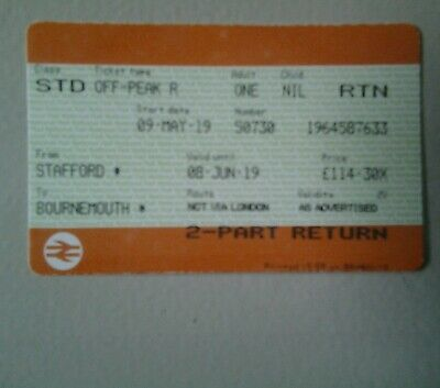 1 ADULT OFF-PEAK STAFFORD-BOURNEMOUTH 9 May -8June 14 stops on route