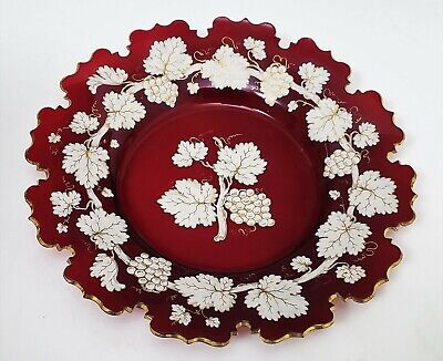 19th c Antique Victorian Bohemian Moser Enameled Ruby Art Glass Plate
