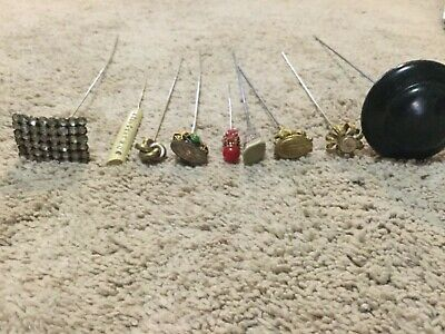 Antique Victorian hatpin lot of 9