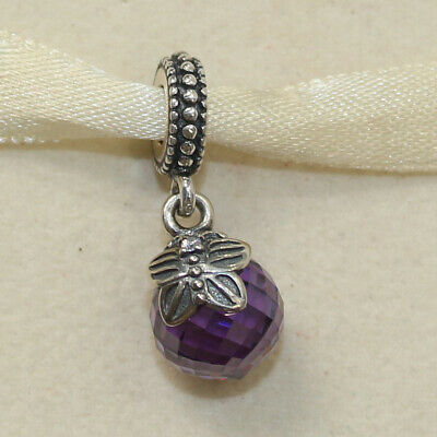 f363f995b New Pandora Charm Purple Morning Butterfly Dangle 791258ACZ W Tag & Suede  Pouch