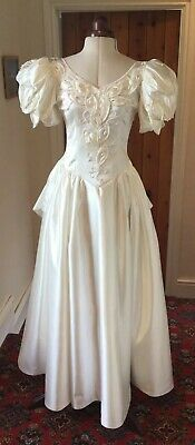 Vintage 1980'S Victorian Style Ivory 'Satin' Wedding Dress By Giorgio Di Roma