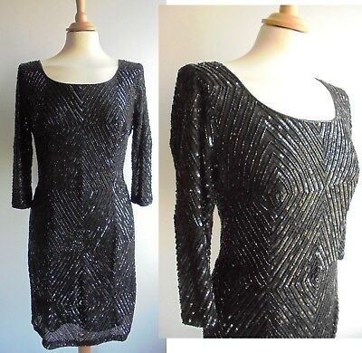 WALLIS Heavily Beaded Black Dress Vintage 1920s Art Deco Inspired Size 10