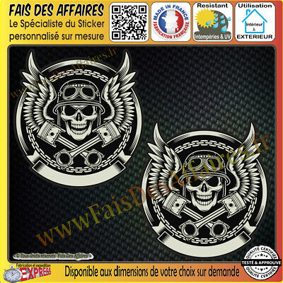 2 Stickers Autocollant adhésif skull devil piston harley decal motorcycles