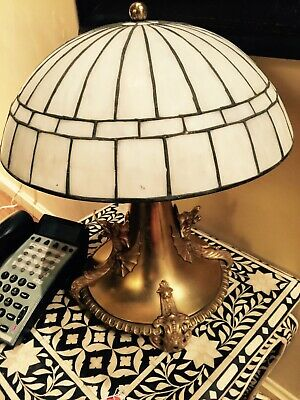 Rare turn of the century Lamp early 1900's antique brass glass