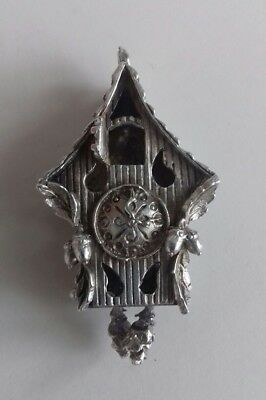 Antique Sterling Silver Cuckoo Clock Pendant With Moving Part