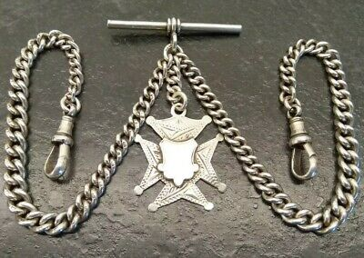 Antique All Original Silver Double Graduated Albert Pocket Watch Chain & Fob.